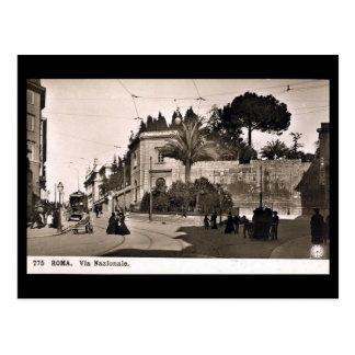 Gammal vykort, Rome, via Nazionale Vykort