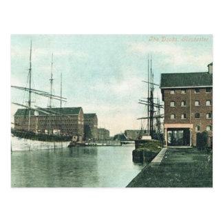 Gammal vykort - skeppsdockorna, Gloucester