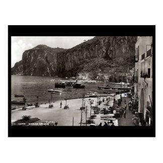 Gammal vykort - stor Marina, Capri, italien