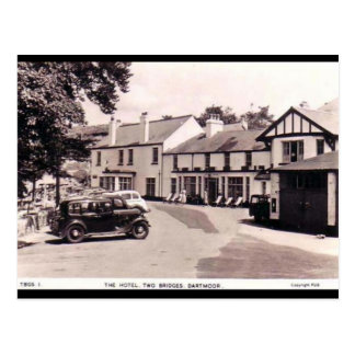 Gammal vykort - två överbryggar, Dartmoor, Devon