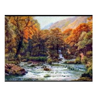 Gammal vykort - Watersmeet, Lynmouth, Devon