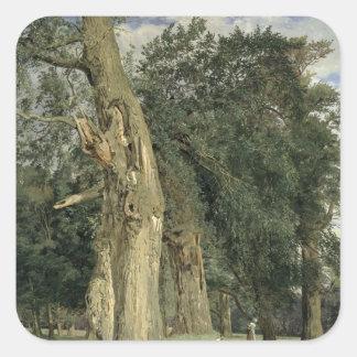 Gammala almer i Prater, 1831 Fyrkantigt Klistermärke