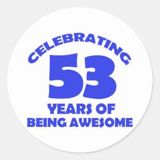 gammala födelsedagdesigner för 53rd år runt klistermärke