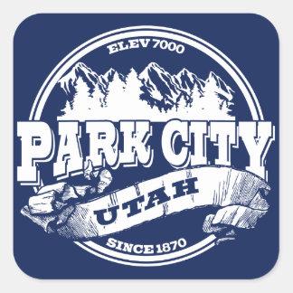 Gammala Park City cirklar blått Fyrkantigt Klistermärke