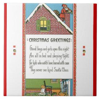 Gammalmodig glädje för julvintagehelgdag kakelplatta