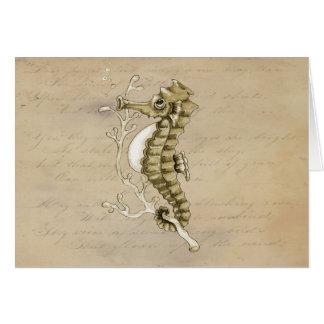 Gammalmodig Seahorse på vintagepappersbakgrund Hälsningskort