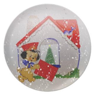 Gammalmodig tecknad för julvintagevalp tallrik