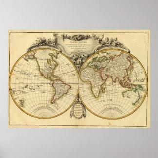 Gammalmodig världskarta (1782) poster