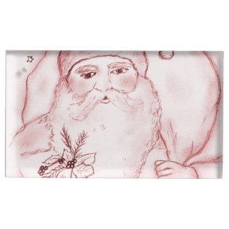Gammalmodiga Santa i Cranberry Bordskorthållare