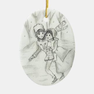Gammalmodiga skater julgransprydnad keramik