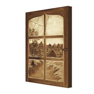 Gammalt brutet fönster - Sepia Canvastryck