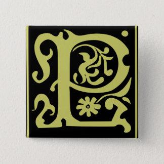 Gammalt Calligraphybrev P kvadrerar knäppas Standard Kanpp Fyrkantig 5.1 Cm