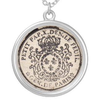 Gammalt franskt dokumenthängehalsband silverpläterat halsband