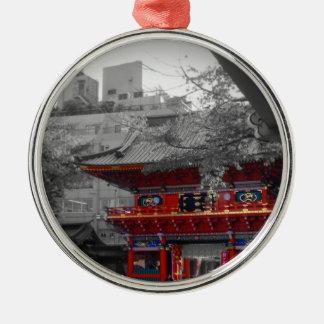 Gammalt japanskt tempel julgransprydnad metall