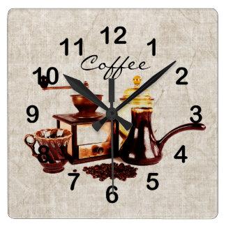 gammalt kaffe mal med kaffebönor fyrkantig klocka