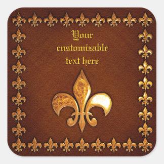 Gammalt läder täcker med guld- Fleur-de-Lys - Fyrkantigt Klistermärke