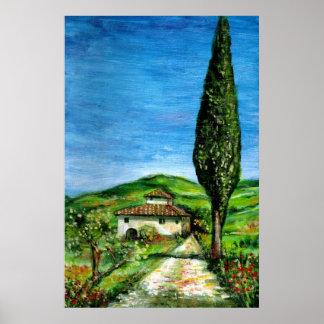 Gammalt lantgårdhus i Chianti - Tuscany landskap Poster
