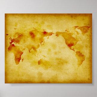 Gammalt pappert urblektt målar världskartan poster