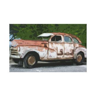 Gammalt rostigt brutet besegrar bilkanfas canvastryck