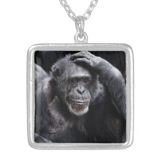 Gammalt schimpanshalsband silverpläterat halsband