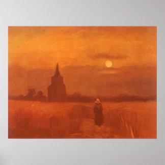Gammalt torn i fälten av Vincent Van Gogh Poster