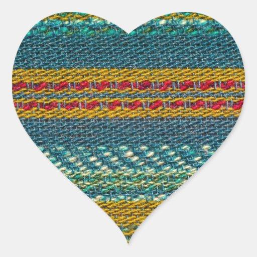 Gammalt tyg hjärtformade klistermärken