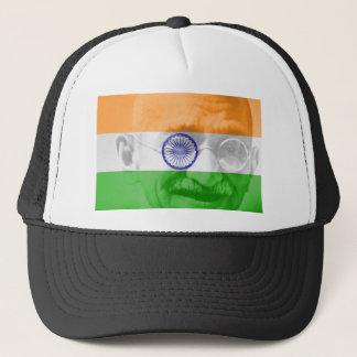 Gandhi på indisk flagga keps