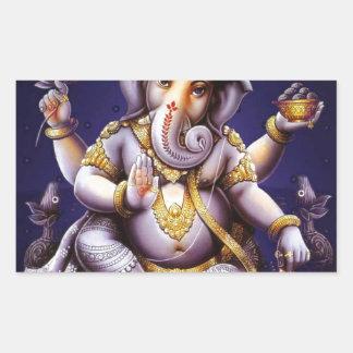 Ganesh Ganesha hinduisk Indien asiatisk Rektangulärt Klistermärke