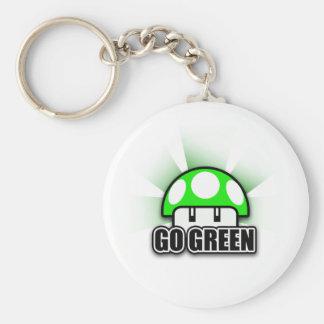Går den gröna Eco vänliga naturchampinjonen Rund Nyckelring
