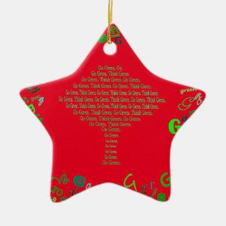 går den gröna julen stjärnformad julgransprydnad i keramik