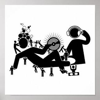 """Går DJ besegrar"" popkonstaffischen Poster"