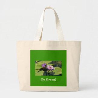 Går gröna lotusblommar jumbo tygkasse