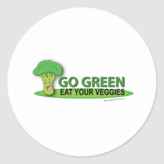 Går grönt äter dina Veggies Runt Klistermärke