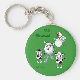 Går grönt! Djur som att bry sig! Rund Nyckelring