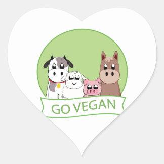 Går veganen hjärtformat klistermärke