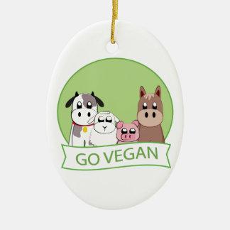 Går veganen julgransprydnad keramik