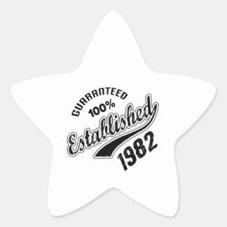 Garanterad 100% etablerad 1982 stjärnformat klistermärke
