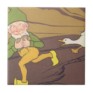 Gås för vintageAesop fabel som lade det guld- Kakelplatta