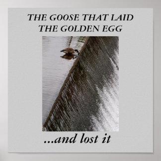Gås som förlorade det guld- ägget print