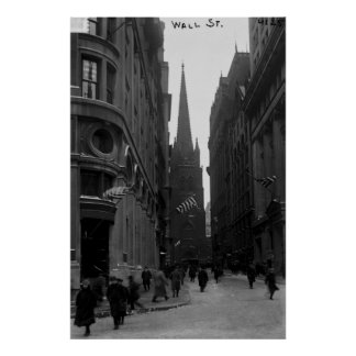 Gata New York för wall streetTrinitykyrka Print