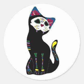"""""""Gato Muerto"""" Diameter De Los Muertos Katt Runt Klistermärke"""