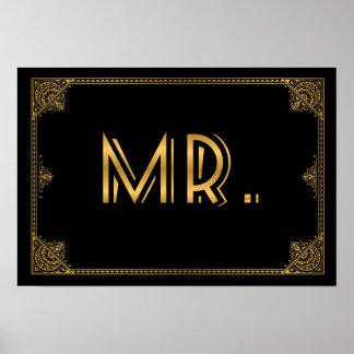 Gatsby inspirerade bröllop undertecknar HERR Poster