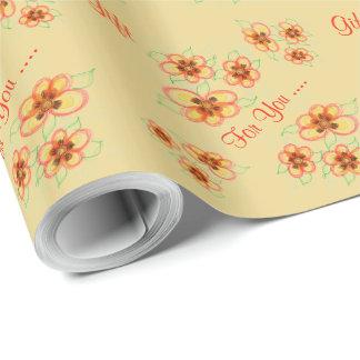 Gåva för dig krämig blommigt med orangen presentpapper