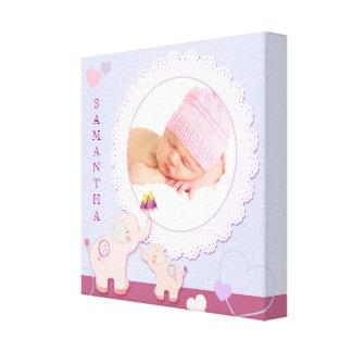 Gåva för foto för baby för kärlekkärlekelefant canvastryck
