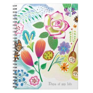 gåva för henne, blom- illustration anteckningsbok med spiral