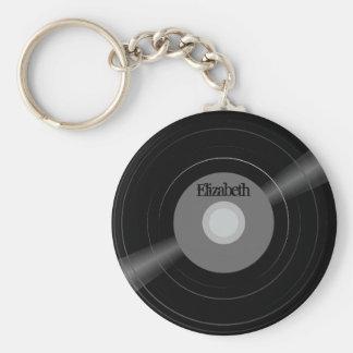 Gåva för student för Monogram för vinylrekordnamn Rund Nyckelring