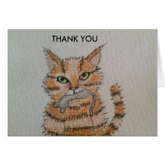 Gåva från katten - tackkort hälsningskort