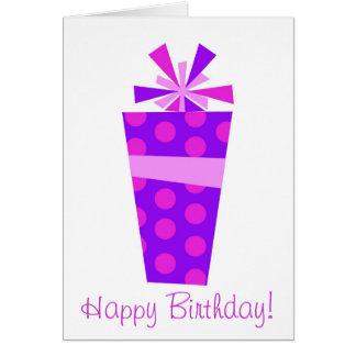 gåva-lila grattis på födelsedagen! hälsningskort