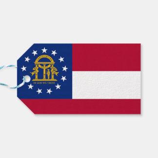 Gåvamärkre med den statliga flagga av Georgia, USA Presentetikett