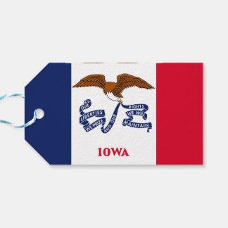 Gåvamärkre med den statliga flagga av Iowa, USA Presentetikett